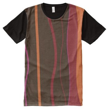 Colorful Striped Pattern All-Over Printed T-Shirt