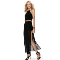 Black Side Slit Chiffon Maxi Skirt