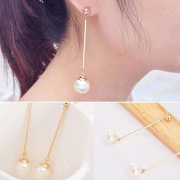 DCCKJY1 New Fashion OL Womens Imitation Pearl Ear Stud Pearl Long Dangle Earring