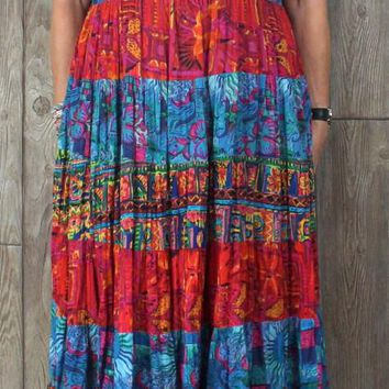 Fun Colorful Cotton Casual Dress L size Tiered Skirt Hippy Boho Multi Color Day in Day out.