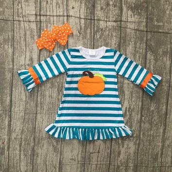new Halloween baby girls Fall striped outfits dress pumpkin boutique cotton jade blue children clothes match accessory headband