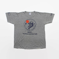 Vintage 80s HOCKEY T-Shirt / 1980s Soft Thin Tri-Blend Heather Gray Tee Shirt L
