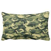 Green Camouflage Pattern Lumbar Pillow