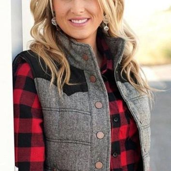 Back to Business Gray and Black Quilted Vest - LAST ONE FINAL SALE!