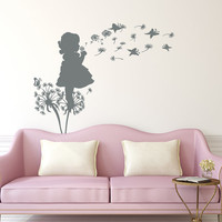 Dandelion Wall Decals Flower Butterflies Decal Girl Vinyl Stickers Kids Nursery Baby Home Bedroom Decor  T165