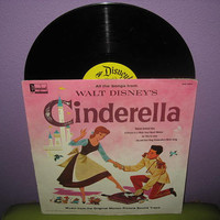 Vinyl Record Disney's Cinderella Original Soundtrack LP 1963 Children's Classic