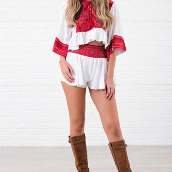 Born Free Boho Two Piece Set (Red/White)