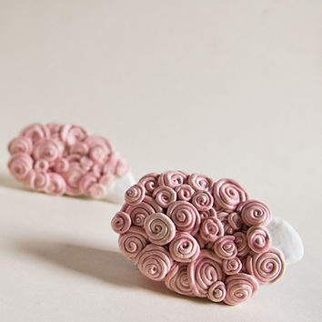 CURLY COSY SHEEP in pink blush floating like clouds on by karoArt
