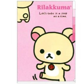 San-X Rilakkuma Everyday A4 5-Index Plastic File Folder: Little Bear