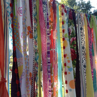 Gypsy Boho Curtain Fabric Garland Backdrop - Dorm, Teen Room,  Decor - Hippie, Indie, Caravan, Moroccan - 10 ft x 6 ft