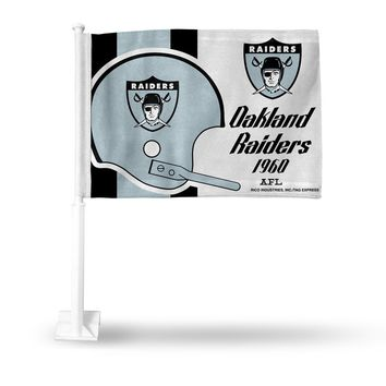 OAKLAND RAIDERS AFL RETRO LOGO CAR FLAG DOUBLE SIDED VINTAGE SHIPS FROM THE BAY