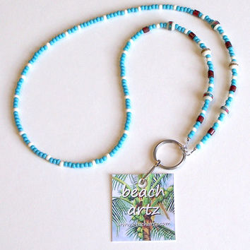 Tibetan Style Beaded Lanyard Eyeglass Chain, Boho Beach Lanyard, ID Badge Holder