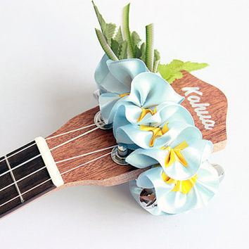ukulele item  / Ribbon lei for ukulele / blue plumeria / ukulele gift /  ukulele accessories /