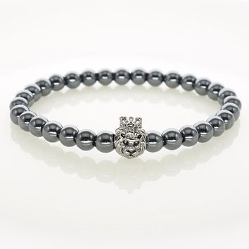 6 MM Hematite Stones Crown Lion Head Charm Bracelets Men Handmade Jewelry Women Wrap Accessories IMG7742
