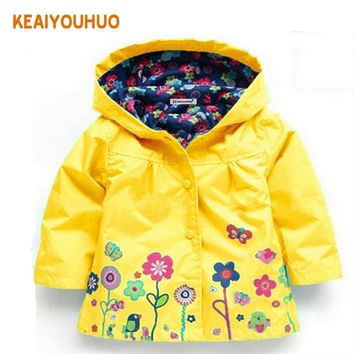 2-6 yrs Baby Girls Toddler hooded 2018 spring Autumn Girls Jackets casual Kids Outwear flower pattern Waterproof Children Coat