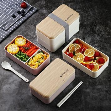 Wooden Feeling Lucn Box Microwave Double Layer