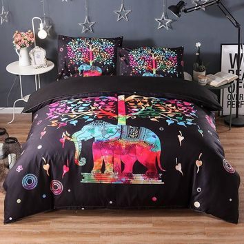 3pcs Elephant Bedding Set Mandala Luxury Bed Cover Duvet Cover Twin Queen King Size Bed Linen Set Boho Quilts Comforter Sheets