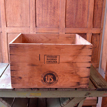 LARGE Wood Crate, US Rubber Company Mens Shoe Shipping Crate, Berkeley, Milwaukee