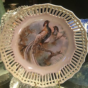 German Hand Painted Reticulated Bowl with Two Pheasants on a Branch