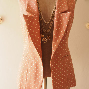 Blazer Nude Earth Pink Gingham Chic Collar : Play Blazer or semi formal style fun to own and dress with - Size S-M
