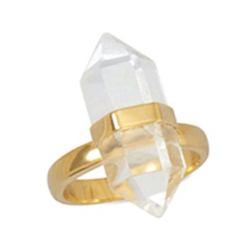 14 Karat Gold Plated Sterling Silver Clear Quartz Ring High Quality Women Jewelry