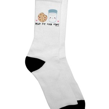 Cute Milk and Cookie - Made for Each Other Adult Crew Socks - by TooLoud