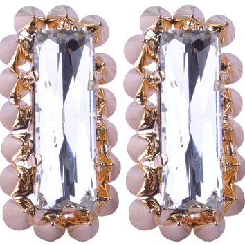 Gold Plated White Rectangular Crystal Spike Stud Earring ESE0000479