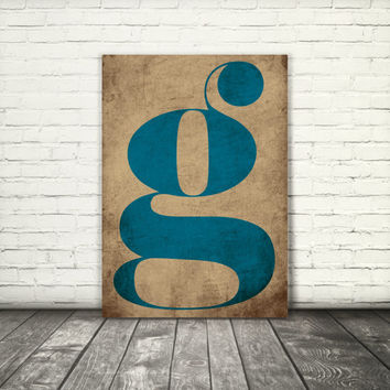 Letter g, monogram, 8x10, A3, digital download, typography, printable, home decor, poster, blue and yellow, instant download modern wall art