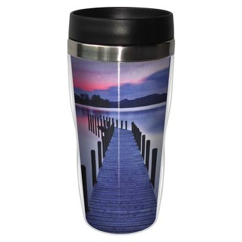 Endless Dock Artful Travel Mug - Premium 16 oz Stainless Lined w/ No Spill Lid