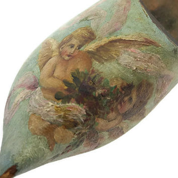 Painted Wooden Clog - Cottage Chic, Hand Painted Angels Cherubs