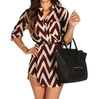 Burgundy Chevron Belted Tunic