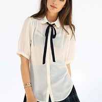 Cooperative Chiffon Tie-Neck Blouse-