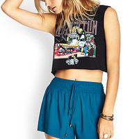 FOREVER 21 Smocked Drawstring Woven Shorts
