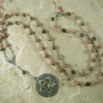 Pentacle Meditation Bead Necklace in Rhodonite