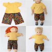 """bitty baby clothes,16"""" Cabbage Patch Kids, or 18"""" doll handmade harvest scroll"""