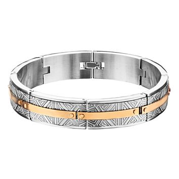 316L Stainless Steel 2Tone Rose Gold IP Labyrinthine Men's Bracelet 8""