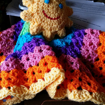 READY to SHIP  Cheerful Sunshine Rainbow Lovey security Blanket