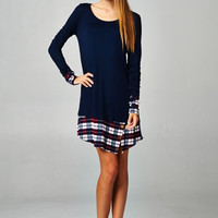 Touch Of Plaid Tunic Navy or Burgundy