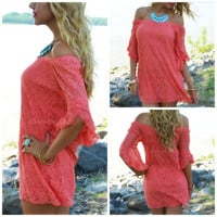 Rockaway Beach Coral Lace Shift Dress