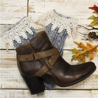 FALL lace ankle boot socks - denim