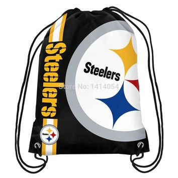 Pittsburgh Steelers  wordmack Drawstring Backpack 35x45CM NFL Digital Printing Polyester Custom Sports Backpack, free shipping