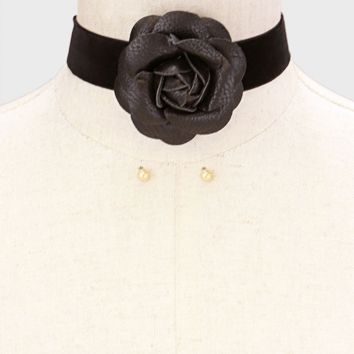 Leather Rose Velvet Ribbon Tie Choker Necklace - Black