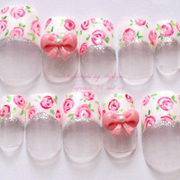 3D nails lolita kawaii white french tips floral print by Aya1gou