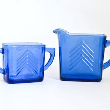 Vintage Hazel Atlas Cobalt Blue Chevron Creamer Pitcher Sugar Set, Arrow Pattern 1930s Depression Glass