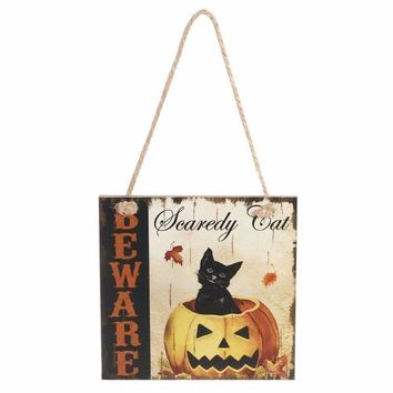 Halloween BEWARE Cat Rectangle Hanging Wall Sign Decoration Halloween Decorations