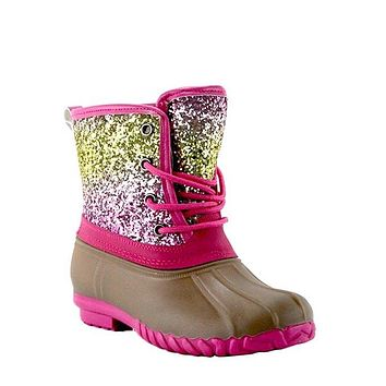 2018 Fall GOLD GLITTER LACE UP TONE TONE KIDS DUCK BOOT