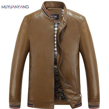 Men Leather Suede Coats Winter Faux Leather Jackets Thick Coats For Male Clothing Men's Leather Jackets