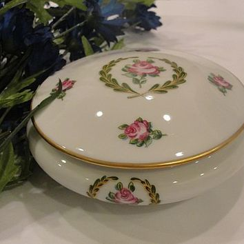 Clean Beautiful Malbec Limoges Porcelain Trinket Powder Box