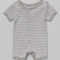 Leveret Light Gray & White Stripe Romper - Infant | zulily