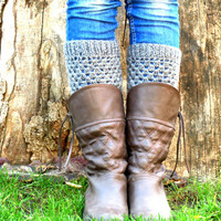 Gray Short Square Knit Boot Cuffs. Short Leg Warmers. Crochet Boot Cuffs.